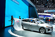 New York, NY, USA-23 March 2016. Hyundai unveiled the Ioniq electric car at the New York International Auto Show. The car is available with 3 powertrains—electric, plug-in hybrid, and hybrid—on a single platform.