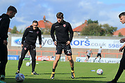 Callum Lang of Morecambe warming up during the EFL Sky Bet League 2 match between Morecambe and Newport County at the Globe Arena, Morecambe, England on 16 September 2017. Photo by Mick Haynes.