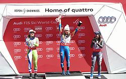 19.03.2017, Aspen, USA, FIS Weltcup Ski Alpin, Finale 2017, Gesamtweltcup, Damen, Siegerehrung, im Bild v.l. Ilka Stuhec (SLO, 2. Platz Gesamtweltcup Damen), Mikaela Shiffrin (USA, Gewinnerin des Slalom und des Gesamt Weltcup Damen), Sofia Goggia (3. Platz Gesamtweltcup Damen) // Winner of the Slalom andsecond placed oveall worldcup Ilka Stuhec of Slovenia, the Overall World Cup winner Mikaela Shiffrin of the USA, third placed overall world cup Sofia Goggia during the winner award ceremony for the ladie's overall winner of 2017 FIS ski alpine world cup finals. Aspen, United Staates on 2017/03/19. EXPA Pictures © 2017, PhotoCredit: EXPA/ Erich Spiess