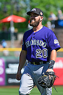 SCOTTSDALE, AZ - MARCH 09:  Jackson Williams #20 of the Colorado Rockies smiles on the field prior to the game against the San Francisco Giants at Scottsdale Stadium on March 9, 2016 in Scottsdale, Arizona.  The Colorado Rockies won 8-6. (Photo by Jennifer Stewart/Getty Images) *** Local Caption *** Jackson Williams
