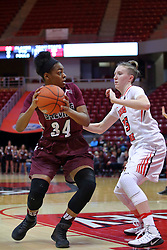 29 January 2017: Nicole Martin works against defender Hannah Green during an College Missouri Valley Conference Women's Basketball game between Illinois State University Redbirds the Salukis of Southern Illinois at Redbird Arena in Normal Illinois.