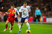 England defender Ben Chilwell on the ball during the UEFA European 2020 Qualifier match between England and Montenegro at Wembley Stadium, London, England on 14 November 2019.