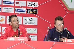 February 23, 2019 - Abu Dhabi - Foto LaPresse - Fabio Ferrari.23 Febbraio 2019 Abu Dhabi (Emirati Arabi Uniti).Sport Ciclismo.UAE Tour 2019 - Conferenza Tor Riders.Nella foto: Vincenzo Nibali, Elia Viviani..Photo LaPresse - Fabio Ferrari.February 23, 2019 Abu Dhabi (United Arab Emirates) .Sport Cycling.UAE Tour 2018 - Top rider press conference.In the pic: Vincenzo Nibali,Elia Viviani (Credit Image: © Fabio Ferrari/Lapresse via ZUMA Press)