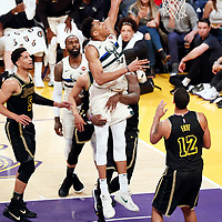 30 March 2018:  during the Milwaukee Bucks 124-122 victory over the LA Lakers, at the Staples Center, Los Angeles, California, USA.