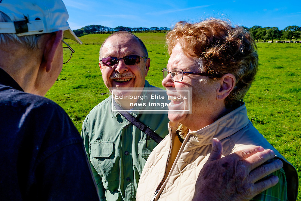 American couple make 6000 mile trip to Strathaven to trace family history and link with 1943 air crash<br /> <br /> Barry and Vicki Graham from Yankton, South Dakota on a family history visit to Scotland are taken to the site of the 1943 B-17 crash in Strathaven, Lanarkshire.  Vicki's Uncle Mearl C Waswick was the tail gunner on the Flying Fortress.  They were shown the site by 84 year old Archie Watt who witnessed to crash aged 11 years old.<br /> <br /> (c) Andrew Wilson   Edinburgh Elite media