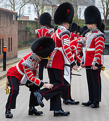 The 1st Battalion Coldstream Guards undergoes inspection by Major General Commanding the Household Division, Major General Ben Bathurst at Victoria Barracks in Windsor, Berkshire. The battalion has been chosen to Troop its Colour for the Queen's Birthday Parade on 9th June.  Before then these operational soldiers have to perfect hundreds of precision ceremonial drill moves and achieve a standard of turnout of uniform, equipment and bearing which is nothing short of excellence.  Members of the Coldstream Guards Drum Corps adjust their uniforms prior to inspection.<br /> <br /> Victoria Barracks, Windsor, Berks, February 21 2018.