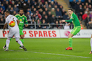 Adam Johnson of Sunderland sees a shot go wide during the Barclays Premier League match between Swansea City and Sunderland at the Liberty Stadium, Swansea, Wales on 13 January 2016. Photo by Mark Hawkins.
