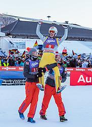 01.01.2017, Olympiaschanze, Garmisch Partenkirchen, GER, FIS Weltcup Ski Sprung, Vierschanzentournee, Garmisch Partenkirchen, Wertungsdurchgang, im Bild v.l.: Andreas Stjernen (NOR), Sieger Daniel Andre Tande (NOR), Tom Hilde (NOR) // f.l.: Andreas Stjernen of Norway Winner Daniel Andre Tande of Norway Tom Hilde of Norway celebrates after his Competition Jump for the Four Hills Tournament of FIS Ski Jumping World Cup at the Olympiaschanze in Garmisch Partenkirchen, Germany on 2017/01/01. EXPA Pictures © 2017, PhotoCredit: EXPA/ JFK