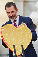 King Felipe VI of Spain attend and Audience to the winning children of the 36th edition of the school contest 'What is a King for you?' at El Pardo Palace on February 13, 2018 in Madrid, Spain