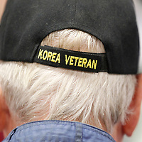 Thomas Wells | BUY AT PHOTOS.DJOURNAL.COM<br /> Leman Taylor wears his Korean War veteran hat proudly during Wednesday's breakast at the Tupelo Automobile Muesum.
