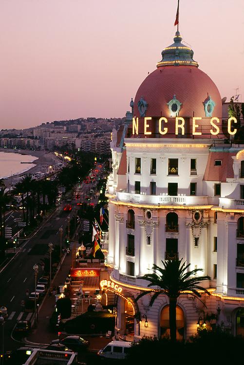 France, Provence, French Riviera, Nice, Negresco Hotel at dusk.