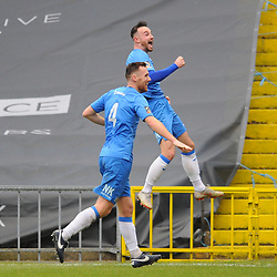 TELFORD COPYRIGHT MIKE SHERIDAN 16/2/2019 - GOAL. Matthew Warburton of Stockport celebrates after scoring to make it 3-2 during the Vanarama Conference North fixture between Stockport County and AFC Telford United at Edgeley Park