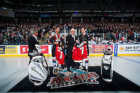 KELOWNA, CANADA - JANUARY 10: Josh Morrissey #27 and Madison Bowey #4 of Kelowna Rockets gift their Team Canada World Junior Hockey jerseys to General Manager Bruce Hamilton on January 10, 2015 at Prospera Place in Kelowna, British Columbia, Canada.  (Photo by Marissa Baecker/Shoot the Breeze)  *** Local Caption *** Bruce Hamilton; Madison Bowey; Josh Morrissey;