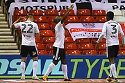 Fulham midfielder Neeskens Kebano (7) celebrates after scoring a goal to make it 1-3 during the EFL Sky Bet Championship match between Nottingham Forest and Fulham at the City Ground, Nottingham, England on 26 September 2017. Photo by Jon Hobley.