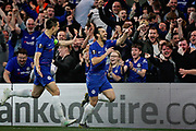 Chelsea FC forward Pedro (11) celebrates his goal during the Europa League quarter-final, leg 2 of 2 match between Chelsea and Slavia Prague at Stamford Bridge, London, England on 18 April 2019.