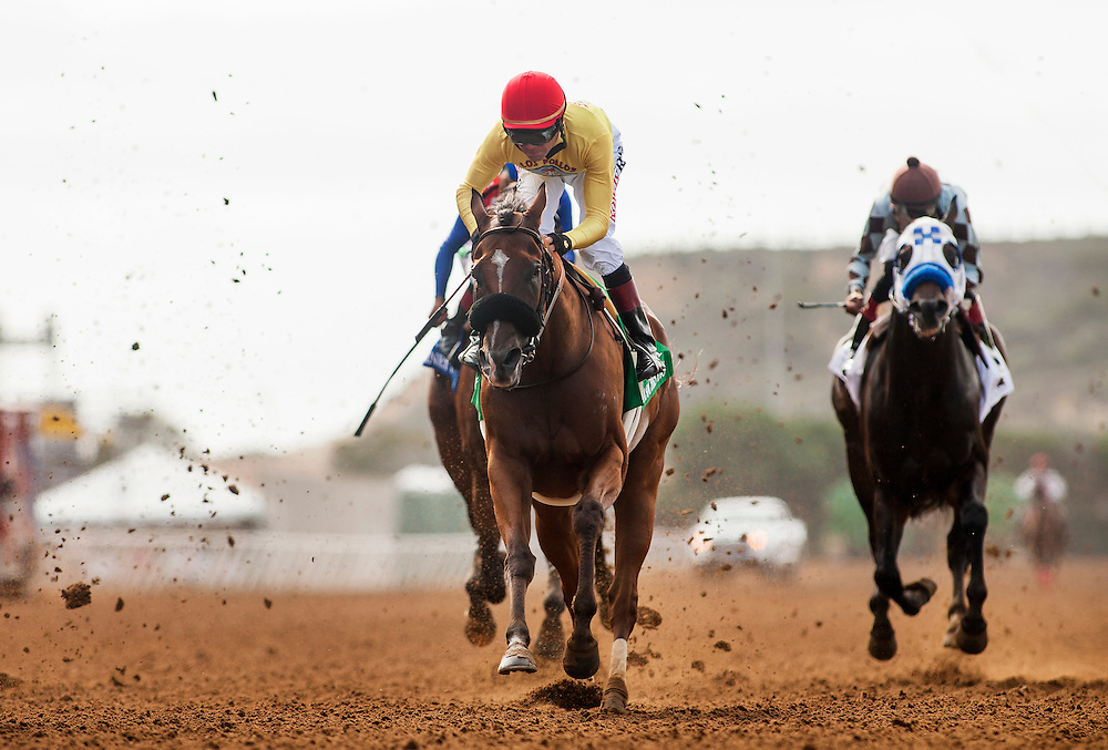 """July 26 2015: Masochistic with Tyler Baze crosses the wire second in the Bing Crosby Stakes a Breeders' Cup """"Win and You're In"""" race at Del Mar Race Course in Del Mar CA. Alex Evers/ESW/CSM"""