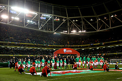 DUBLIN, REPUBLIC OF IRELAND - Friday, March 24, 2017: Wales players line-up before the 2018 FIFA World Cup Qualifying Group D match against Republic of Ireland at the Aviva Stadium. (Pic by David Rawcliffe/Propaganda)