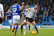 Crewe Alexandra forward Marcus Haber uses his strength to hold possession during the Sky Bet League 1 match between Chesterfield and Crewe Alexandra at the Proact stadium, Chesterfield, England on 20 February 2016. Photo by Aaron Lupton.