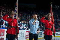 KELOWNA, CANADA - NOVEMBER 11: Jeff Piatellil sings the national anthem at the Kelowna Rockets against the Red Deer Rebels on November 11, 2017 at Prospera Place in Kelowna, British Columbia, Canada.  (Photo by Marissa Baecker/Shoot the Breeze)  *** Local Caption ***