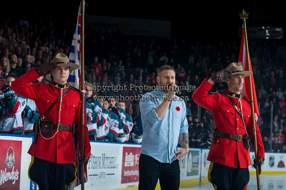 KELOWNA, CANADA - NOVEMBER 11: Jeff Piatellil sings the national anthem at the Kelowna Rockets against the Red Deer Rebels on November 11, 2017 at Prospera Place in Kelowna, British Columbia, Canada.  (Photo by Marissa Baecker/Shoot the Breeze)  *** Local Caption ***
