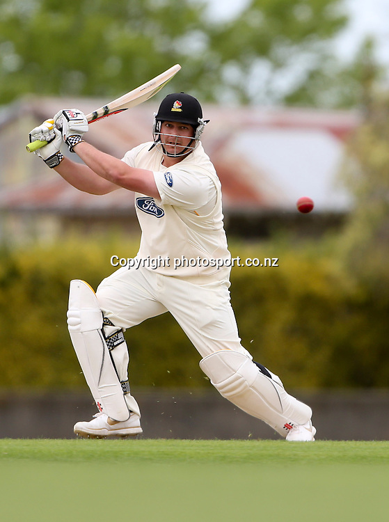 Wellington's Jesse Ryder plays a shot in the Plunket Shield cricket match between the Central Districts Stags and the Wellington Firebirds at Nelson Park, Napier,  New Zealand.Monday, 29 October, 2012. Photo: John Cowpland / photosport.co.nz