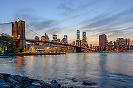New York, New York City, Brooklyn Bridge and Lower Manhattan Skyline, designed by John Augustus Roebling