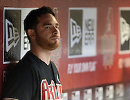 Jul 14, 2013; Phoenix, AZ, USA;  Arizona Diamondbacks pitcher Ian Kennedy (31) watches the game against the Milwaukee Brewers from the dugout at Chase Field. The Brewers defeated the Diamondbacks 5-1. Mandatory Credit: Jennifer Stewart-USA TODAY Sports