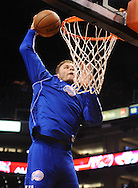 Dec. 23, 2012; Phoenix, AZ, USA; Los Angeles Clippers forward Blake Griffin (32) dunks the ball during the warmups prior to the game against the Phoenix Suns at US Airways Center. The Clippers defeated the Suns 103-77. Mandatory Credit: Jennifer Stewart-USA TODAY Sports