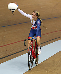 Great Britain's Laura Kenny celebrates winning gold in the women's elimination race during day four of the 2018 European Championships at the Sir Chris Hoy Velodrome, Glasgow.