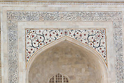 India, Uttar Pradesh, Agra, The Taj Mahal - Detail