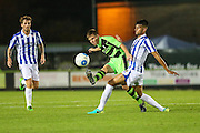 Forest Green Rovers Tom Anderson and Cheltenham Town's Easah Suliman during the Gloucestershire Senior Cup match between Forest Green Rovers and Cheltenham Town at the New Lawn, Forest Green, United Kingdom on 20 September 2016. Photo by Shane Healey.
