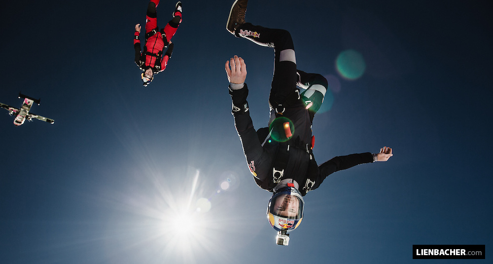 Marco Fürst (right) and Dominic Roithmair of the Red Bull Skydiveteam right after exiting a Skyvan