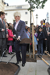 ©London News pictures...04/11/2010. Barbara Windsor MBE marks the arrival of 53 chanticeleer pear trees in Weymouth Street, London W1, along with school children from Queen College Prep School, today. Ridgeford properties lead the initiative along with Westminster Trust and Westminster City Council. The project began in 2008 and plans to complete with it's 250th tree in 2011.