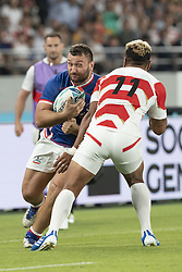 September 20, 2019, Tokyo, Japan: Russia's Stanislav Selskii is tackled by Japan's Lomano Lemeki during the Rugby World Cup 2019 Pool A match between Japan and Russia at Tokyo Stadium. Japan defeats Russia 30-10. (Credit Image: © Rodrigo Reyes Marin/ZUMA Wire)