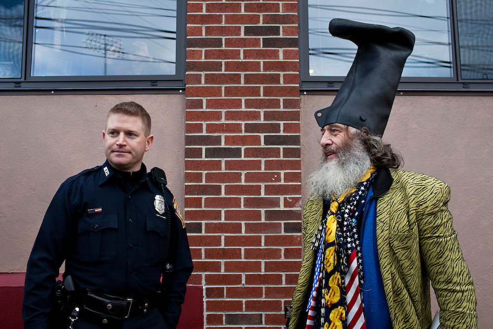 Presidential candidate Vermin Supreme, right, during a protest outside a town hall meeting with Republican presidential candidate Newt Gingrich at Don Quijote restaurant on Sunday, January 8, 2012 in Manchester, NH. Brendan Hoffman for the New York Times