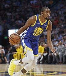 October 21, 2018 - Denver, Colorado, U.S - Warriors KEVIN DURANT makes a run to the basket during the 1st. Half at the Pepsi Center Sunday night. The Nuggets beat the Warriors 100-98. (Credit Image: © Hector Acevedo/ZUMA Wire)