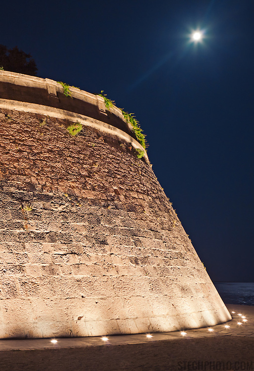 One of the old city walls of Zadar, Croatia, on a moonlit summer night.