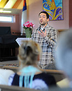 Russell Zerbo of the Clean Air Council answers a question at a discussion about the proposed Elcon hazardous waste incinerator at United Christian Church Sunday April 3, 2016 in Falls Township, Pennsylvania. (Photo by William Thomas Cain)