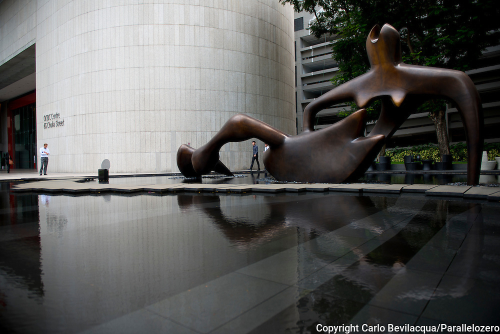 Singapore - Sculpture of Henry Moore at the OCBC Building.