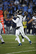 Jacksonville Jaguars quarterback Cody Kessler (6) in action during the week 14 regular season NFL football game against the Tennessee Titans on Thursday, Dec. 6, 2018 in Nashville, Tenn. The Titans won the game 30-9. (©Paul Anthony Spinelli)