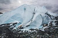 A mountain of ice at the edge of Mantanuska Glacier.