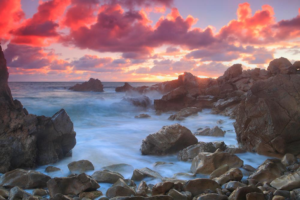 Corona Del Mar - Rocky Cove High Tide - Sunset