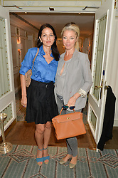 Left to right, YASMIN MILLS and TAMARA BECKWITH at a breakfast hosted by Halcyon Days at Fortnum & Mason, 181 Piccadilly, London on 8th July 2014.