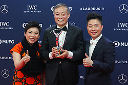 "2019?2?19?.    ????2019??????????????????.    2?18?????????????????????????????????????????????????.    ???2019????????????????""????""??????.    ?????????..SP-MONACO-WORLD SPORTS AWARDS-UNVEIL.Chinese climber Xia Boyu (C) shows the trophy with Laureus Academy members Deng Yaping (L) and Li Xiaopeng after winning the Laureus Sporting Moment of the Year at the 2019 Laureus World Sports Awards ceremony in Monaco, Feb. 18, 2019. The 2019 Laureus World Sports Awards were unveiled in Monaco on Monday. (Credit Image: © Zheng Huansong/Xinhua via ZUMA Wire)"
