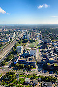 Nederland, Noord-Holland, Amsterdam, 27-09-2015; Zuid-as, overzicht campus van de Vrije Universiteit (VU) rond Amstelveenseweg en De Boelenlaan. VUmc Cancer Center, ACTA (tandheelkunde), Academisch Ziekenhuis Vrije Universiteit VUmc.<br /> Zuid-as, 'South axis', financial center in the South of Amsterdam, with University Hospital VUmc (Vrije Universiteit) and VU MC Cancer Center. Amsterdam equivalent of 'the City', financial district. <br /> <br /> luchtfoto (toeslag op standard tarieven);<br /> aerial photo (additional fee required);<br /> copyright foto/photo Siebe Swart