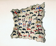 North American  Indian painting, early 20th century. Painting on moose skin by Shoshone, Katsikodi, showing Buffalo hunt. In centre Shoshone perform Sun Dance