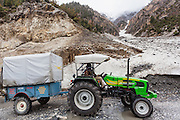 Jaibir Singh Virk waiting in a traffic jam at on the Srinagar Leh Highway at Baltal, Kashmir..In May 2012, Fox Adventure Club set a record for the Longest Tractor Expedition, when three members covered 3623 kms across the western Himalayas in just 14 days on a 65hp Farm Tractor.
