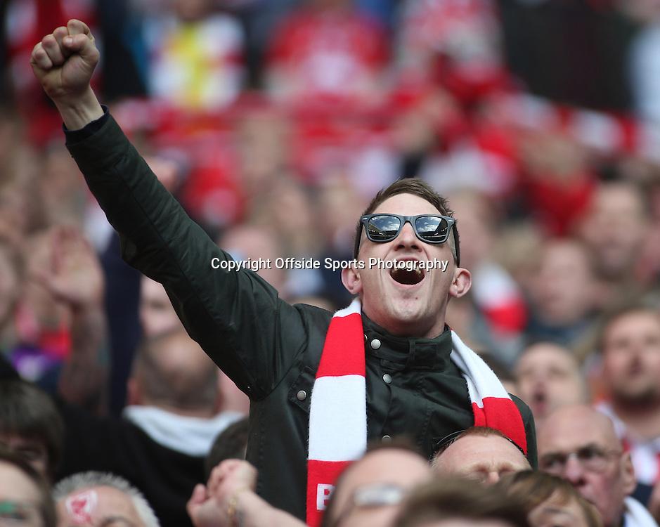 22 March 2015 - Johnstones Paint Trophy Final - Bristol City v Walsall - A Bristol City fan belts out the national anthem.<br /> <br /> Photo: Ryan Smyth/Offside