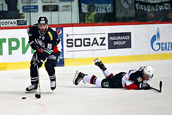 04.01.2015, Dom Sportova, Zagreb, CRO, KHL League, KHL Medvescak vs Slovan Bratislava, 43. Runde, im Bild Pascal Pelletier, Luza Patrik. // during the Kontinental Hockey League 43th round match between KHL Medvescak and Slovan Bratislava at the Dom Sportova in Zagreb, Croatia on 2015/01/04. EXPA Pictures © 2015, PhotoCredit: EXPA/ Pixsell/ Davor Puklavec<br /> <br /> *****ATTENTION - for AUT, SLO, SUI, SWE, ITA, FRA only*****