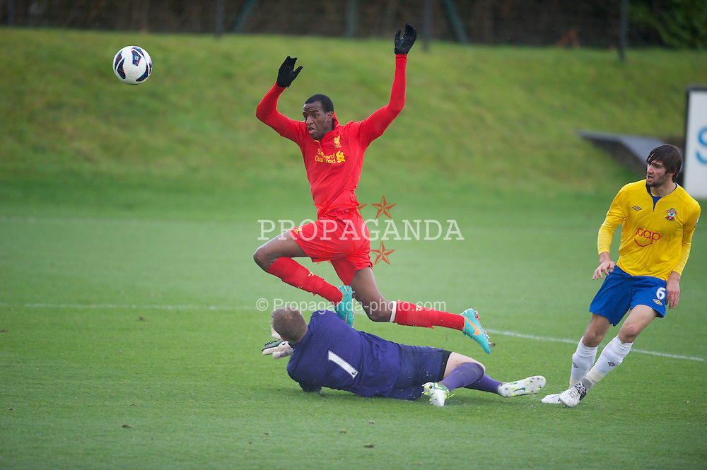 KIRKBY, ENGLAND - Monday, January 14, 2013: Liverpool's Michael Ngoo shoots over Southampton's goalkeeper Cody Cropper during the Under 21 FA Premier League match at the Kirkby Academy. (Pic by David Rawcliffe/Propaganda)